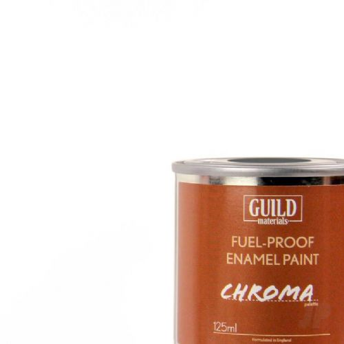 Guild Materials Matt White Enamel Fuel-Proof Paint  (125ml Tin) GLDCHR6300